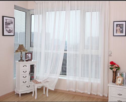 Hot selling 150cm*280cm Sheer White Voile Scarf Curtain Panel Sets Curtains Extra Wide Long(China (Mainland))