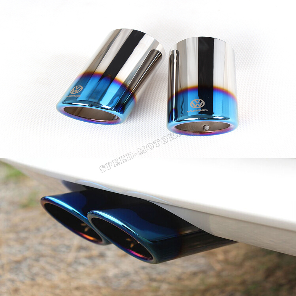 1 piece MK7 stainless steel throat bluing exhaust pipe tail muffler tip for VW Golf VII MK7 2014UP(China (Mainland))