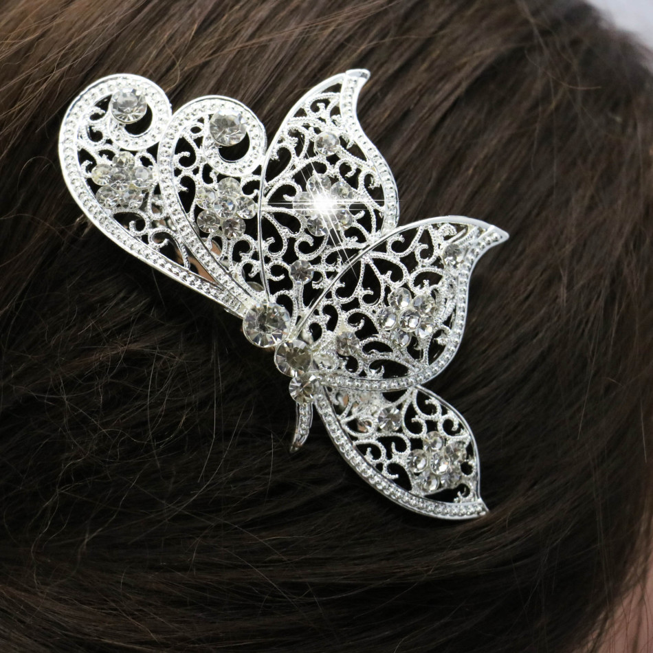 Trendy Hairwear Women Accessories Wedding Hair Comb Bridal Rhinestone Crystal Butterfly Hair Comb Bridesmaid Jewelry 104*78cm(China (Mainland))