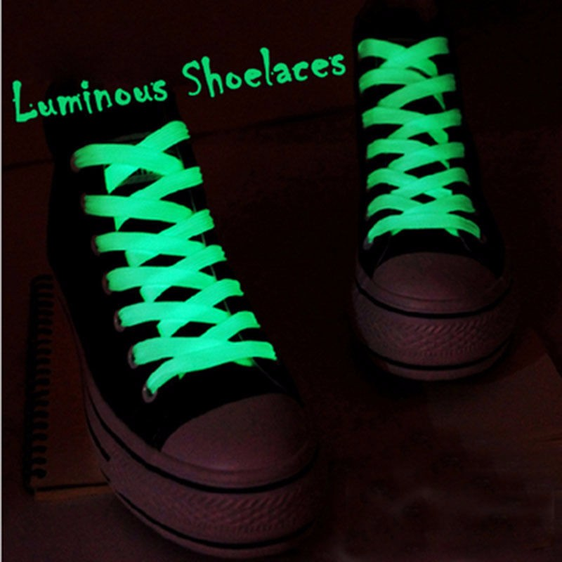 2PC Luminous Glow In The Dark Shoelace Athletic Sport Sneaker Shoe Laces Strings