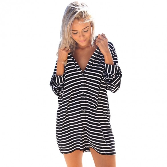 2015 hot sale women black and white striped loose shirt for Black and white striped long sleeve shirt women