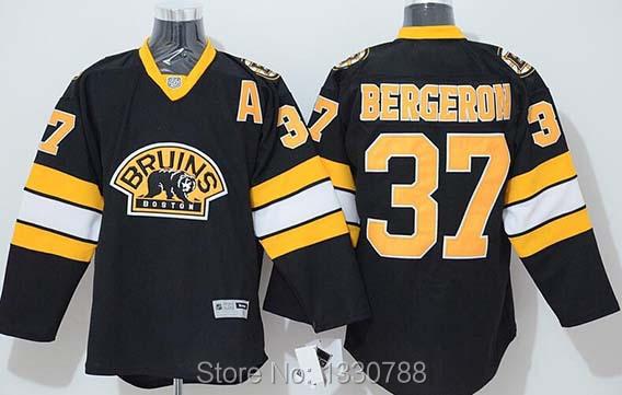 Cheap Boston Bruins Hockey Jerseys Shirt #37 Patrice Bergeron Jersey Black Third Alternate 100% Stitched