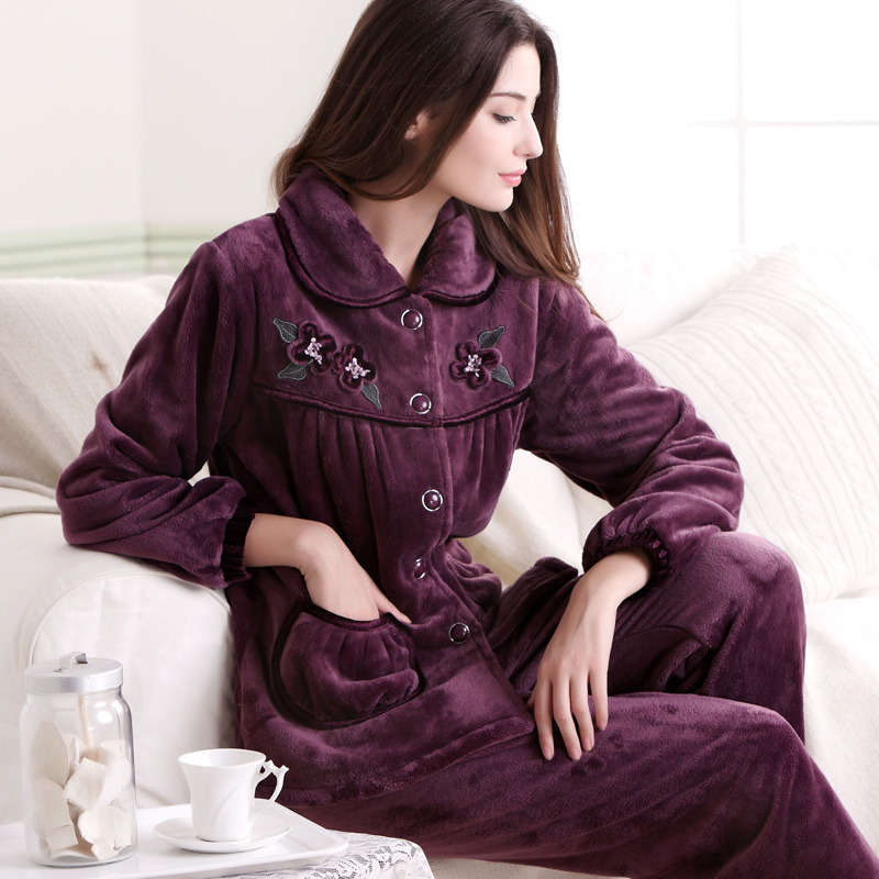 Autumn and winter thickening coral fleece sleepwear women's long-sleeve casual winter flannel lounge Women Pajama Sets(China (Mainland))