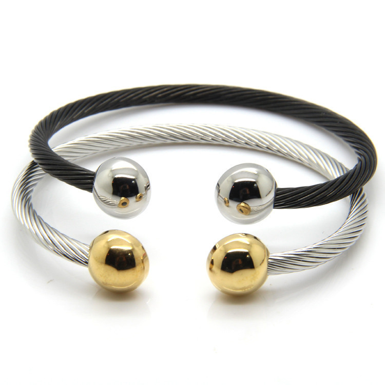 New Arrivals Black / Gold Stainless Steel Bracelets Bangles, Smooth Steel Twisted Wire Bracelet Germanium Accessories For Women(China (Mainland))