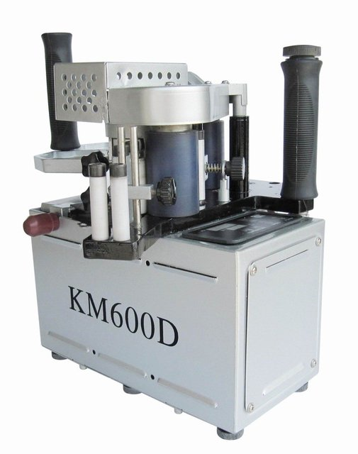 KM600 double slide glue portable edge banding machine,  manual hand held edge bander speed control model singal unit