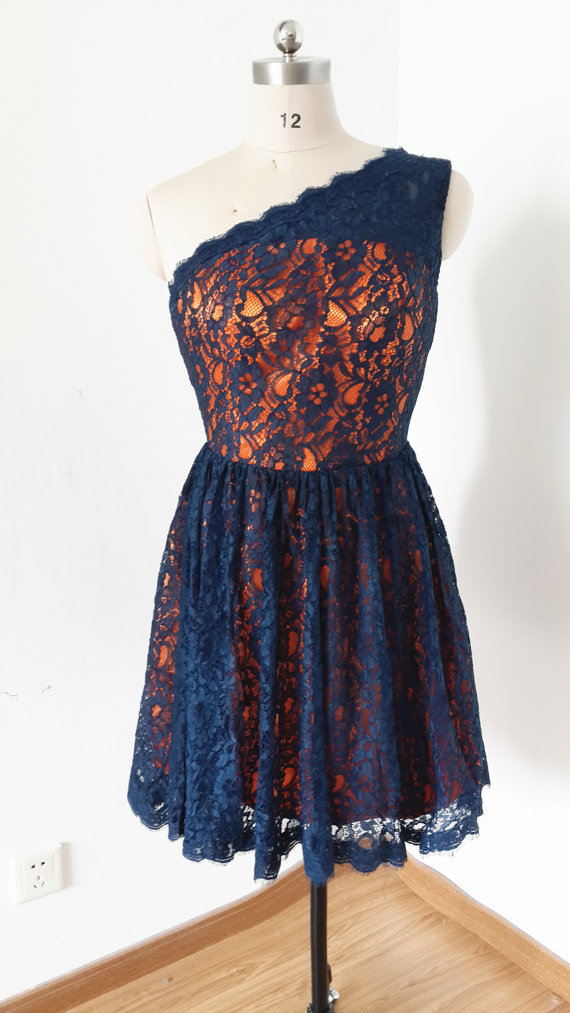 2015 One-shoulder Blue Lace Orange Lining Short Prom Dresses,Bridesmaid Dress - Moon Fashion Shows store