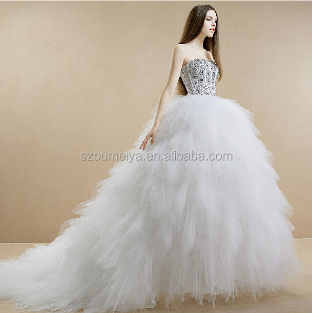 OW59 Oumeiya New Model Stones Diamonds Ball Gown Tulle Puffy Real Sample Wedding Dress(China (Mainland))