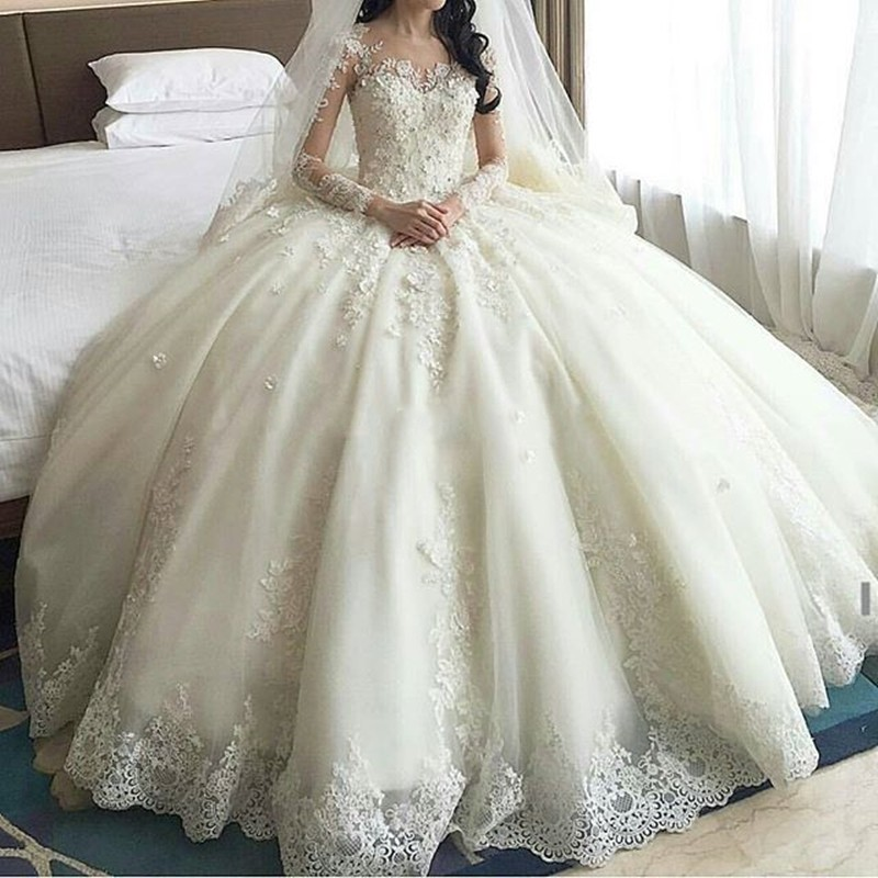 Wedding Gowns For   China : Gown china wedding dresses long sleeve lace appliques bridal gowns