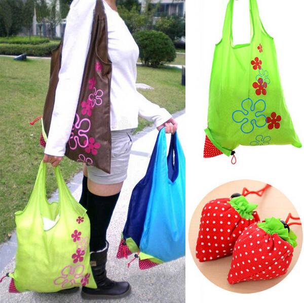 Free Shipping 1000pcs Nylon Foldable Reusable Shopping Bags Eco Storage Handbag Strawberry Tote Reusable Bags(China (Mainland))