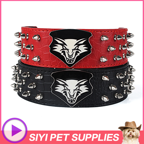 Crocodile leather imitation collar adiestramiento perros spiked dog collars for pitbulls cool wolf head pattern large dog collar(China (Mainland))