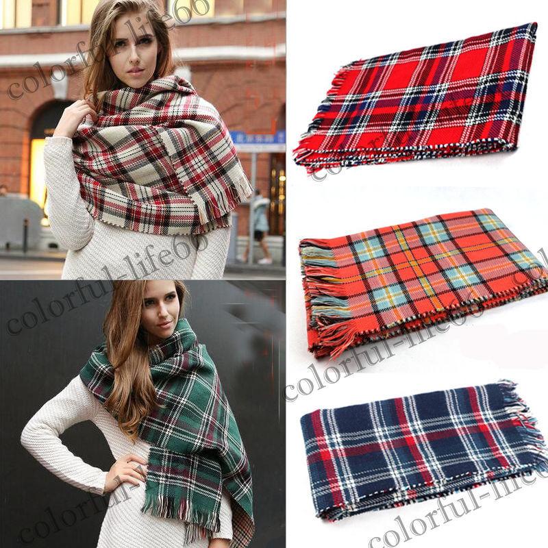 NEW Lady Blanket Cashmere Pashmina Plaid Cozy Checked Tartan Scarf Wraps shawl(China (Mainland))