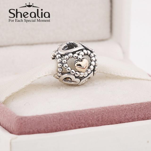 Стерлингового серебра 925 с 14 К настоящее ажурные сердца подвески для женщин браслеты сделай сам ювелирное лучший день матери подарок
