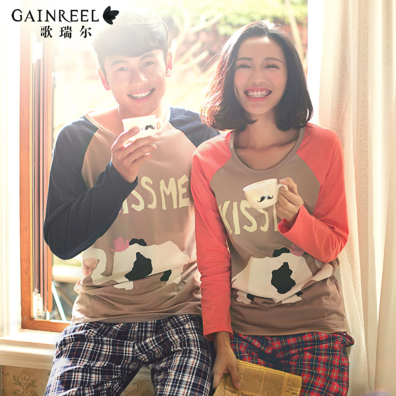 Song Riel autumn cartoon male Ms couple long sleeved plaid pajamas fashion home service package water