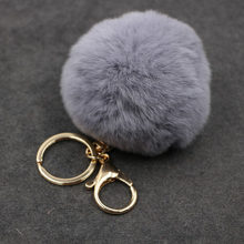 17 cor Chaveiros Trinket Chaveiro Bola De Pêlo Pompom Pele Artificial no Saco Bonito Fofo Falso Pompom Pingente Acessórios(China)