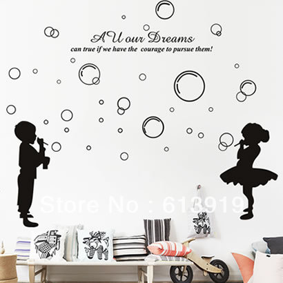 Happy Childhood Boy & Girl Wall stickers Kids Room Decoration Sticker Home Decor - DIY Sky store