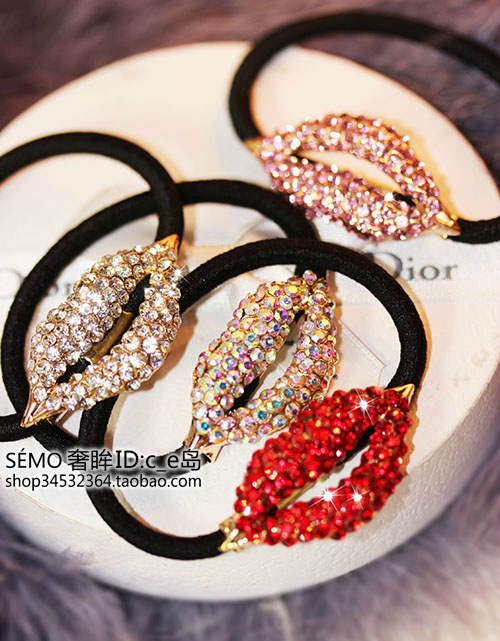 UK Tide brand CoCo same section full of diamond big red lips lips Elastic hair band hair accessories Hair Accessories(China (Mainland))