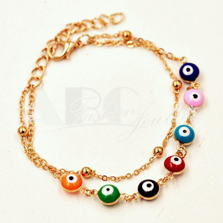 Evil Eye Bracelets Gold Plated Chain Multilayer Bracelet For Women Turkey Evil Eye Jewelry(China (Mainland))