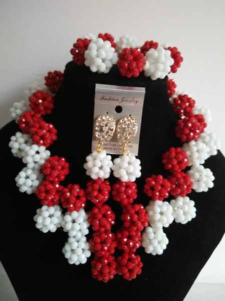 New Style Necklace/Earrings/Bracelet Nigerian women Wedding red and  white crystal balls Beads Jewelry Set Free Shipping A-21335<br><br>Aliexpress