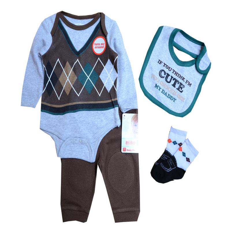 Baby Boys Clothes Sets Autumn Baby suit Gentleman Boys 0-9 Months Bodysuits Pants Bib Socks Clothing Set, Newborn Clothes(China (Mainland))