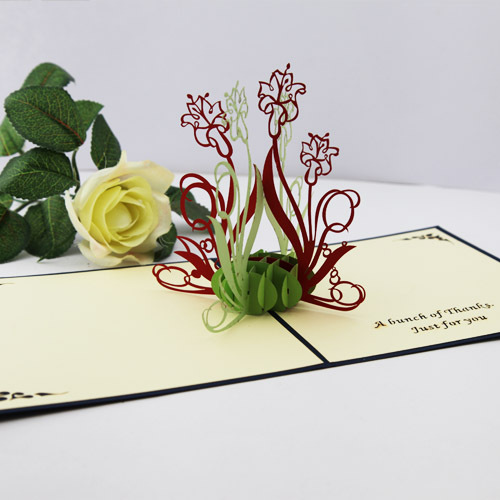 2014 new year Valentine Flowers laser cut invitations 3d pop cards paper art decoupage thank gifts envelope - Ivy trade company ltd store