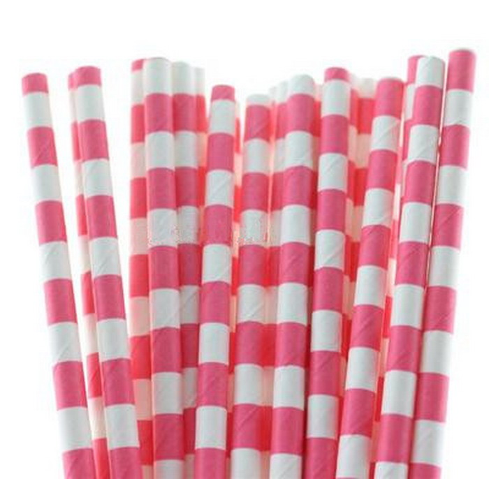 2Paper Straws,Rose Red Horizontal Stripes Pattern Paper Straws Wedding Party Decoration - Commodity little's store
