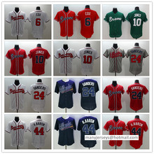 Men 6 Bobby Cox 10 Chipper Jones 24 Deion Sanders 44 Hank Aaron Man white gray red blue green top quality Jersey(China (Mainland))