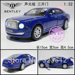 Free shipping 1:32 Bentley Mulliner Alloy Diecast Car Model Toy With Sound&Light Blue B1964(China (Mainland))