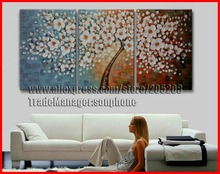 Framed 3 Panel Large Palette Knife Painting Money Tree Canvas Art Feng Shui Wall Pictures for Living Room Home Decor XD03001(Hong Kong)
