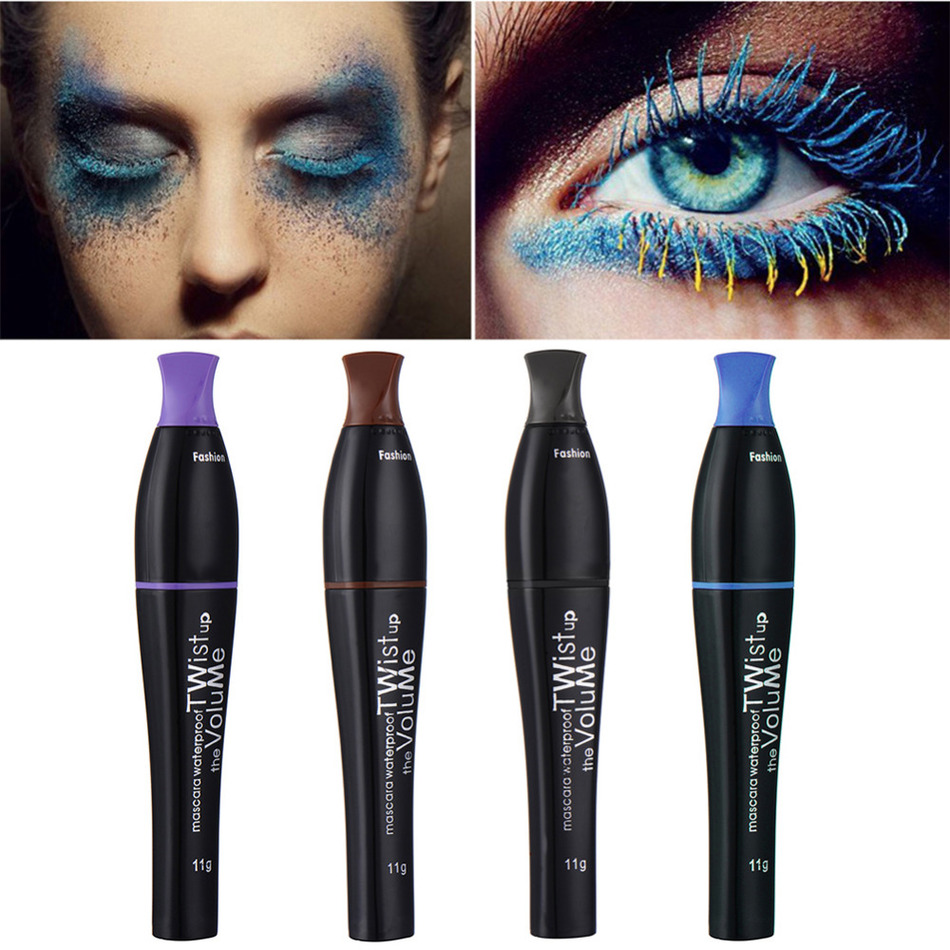 Colored Mascara Waterproof Lengthening Thick Curly Mascara Makeup  No Blooming Pro Makeup For Eye Cosplay Stage Theater Colorful