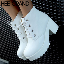 2015 Hot Sale Punk Rock Lace Up Thick Heel High Platform Ankle Boots, Solid Multi-Colors Shoes Woman Women Boots XWX520(China (Mainland))