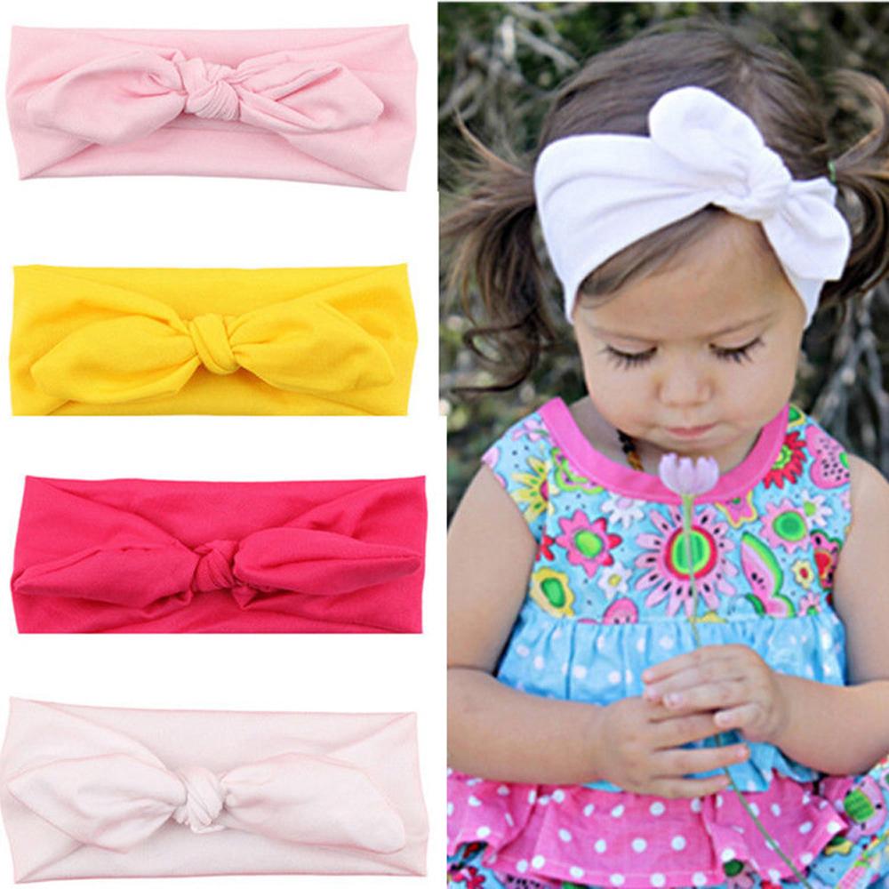 2017 New Hot Fashion Baby Girl Headbands Cute Rabbit Ears Bow Hair Bands Baby Cloth Headband Bowknot Headwear Free shipping