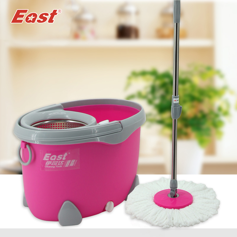 EAST cleaning tools New Magic Spin Mop Bucket No Foot Pedal Rotate 360 Degree with 2 heads cleaning tools(China (Mainland))