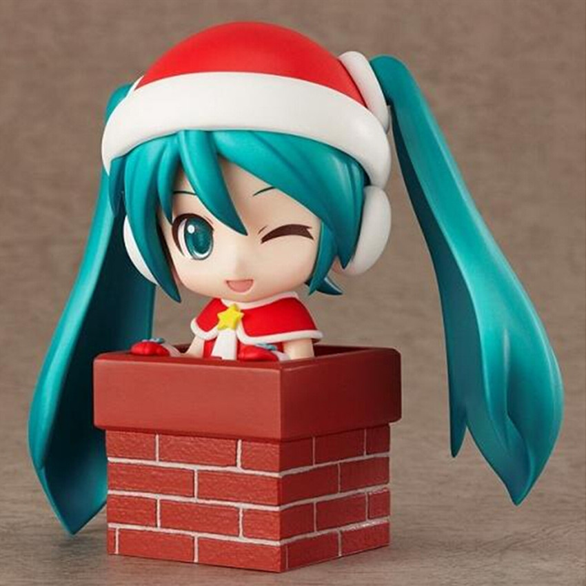 Mini Japan Anime Christmas Hatsune Miku Action Toys 11cm , Cute PVC Material Figure Collection Model Toy for Kid Free Shipping(China (Mainland))