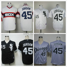 2014 free shipping Chicago White Sox 45 Michael Jordan black/white men's stitched baseball jersey, free ship(China (Mainland))