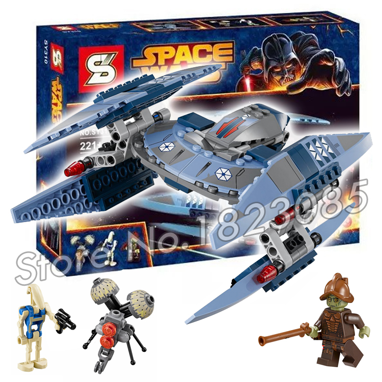 221pcs Bela SY310 Star Wars Vulture Droid Model Building Blocks Minifigures Buzz Droid Battle Compatible With Lego(China (Mainland))