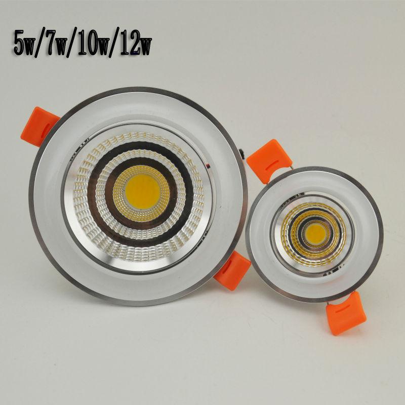 New LED COB Ceiling light 5W7W10W12W COB Chip LED Recessed Downlight Spot Light Lamp White/ Warm white AC 85-265V Free shipping(China (Mainland))