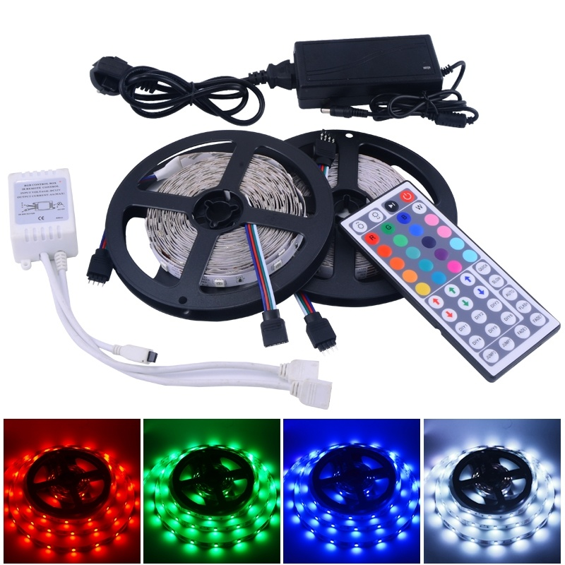 led strip 10m 5050 rgb light 30led/m 2*5m smd non-waterproof strips + dc power supply 12v 5a + 44 key ir remote controller RS06(China (Mainland))