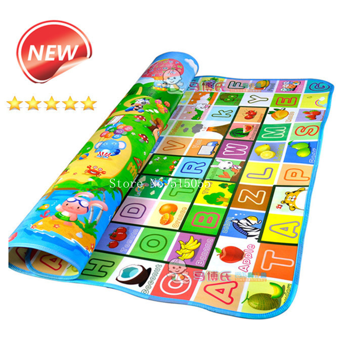 New Doulble-Site Baby Play Mat 2*1.8 Meter Fruit Letters And Happy Farm Child Beach Mat Picnic Carpet Baby Crawling Mat CM-015(China (Mainland))