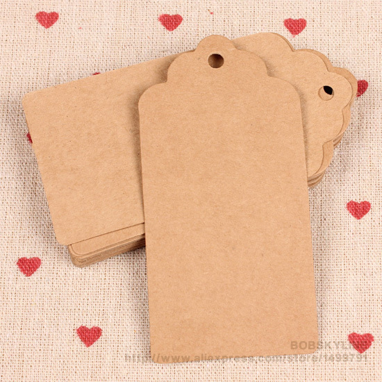 300pcs-9*4.5cm Scallop shape top blank kraft paper cards paper price hang tag DIY gift card(China (Mainland))