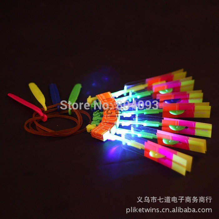 LED Light Up Amazing Flying Sling Arrow Helicopter Rocket Parachute Umbrella Frisbee Children Outdoor Play Toy(China (Mainland))