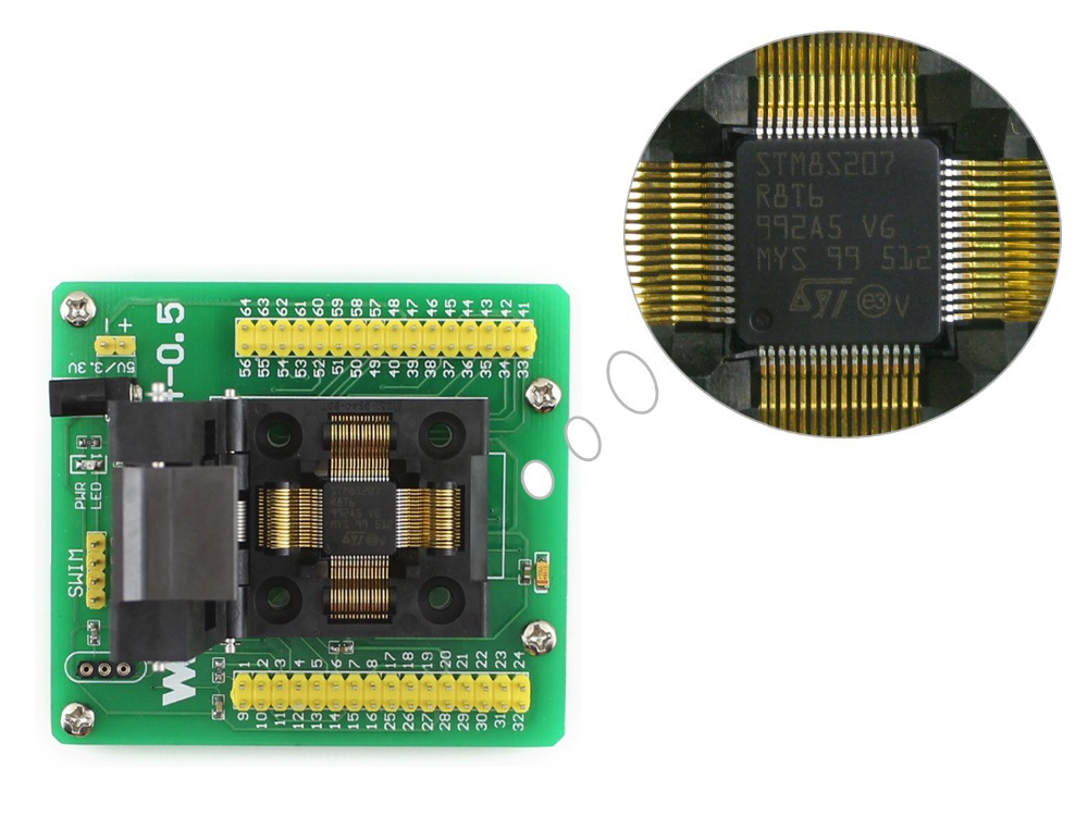 STM8 QFP64 STM8 Programming Adapter IC Test Socket for LQFP64 Package 0.5mm Pitch with SWIM Port + Free Shipping<br><br>Aliexpress