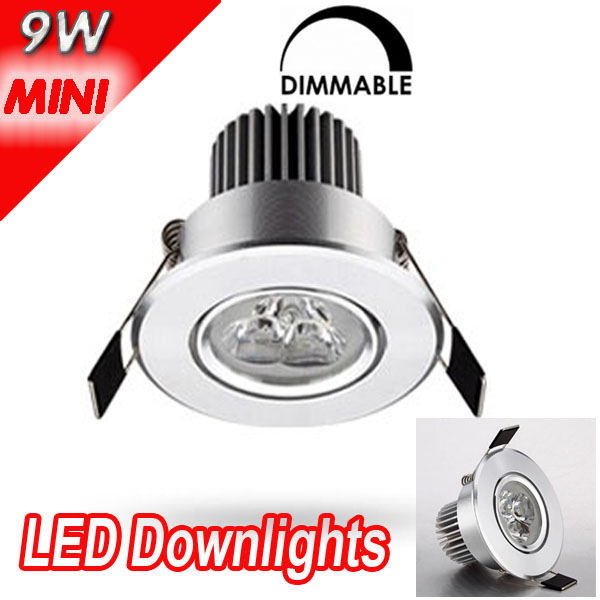 HOT!4pcs downlights leds dimmable 9w 330LM sandblasting aluminium led downlight celing light cool/warm white(China (Mainland))