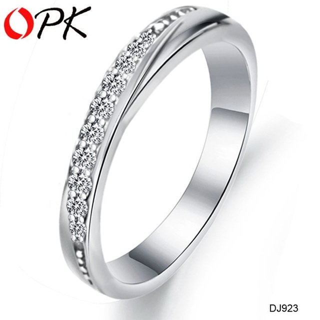 OPK New elegant silver plating platinum  ring Newest design new arrival set with Rhinestone 1pcs/lot DJ923