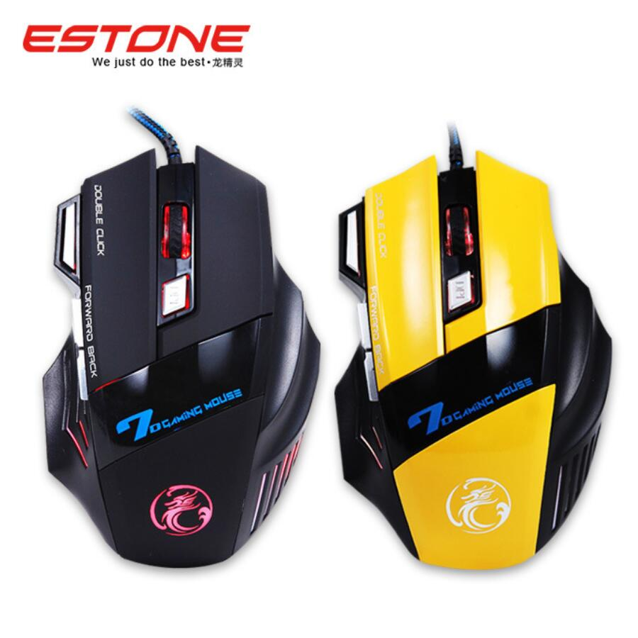 Original Estone X7 Buttons 3200DPI Professional Gaming Mouse Optical LED USB Wired Mouse LOL Pro Gamer for PC Computer Laptop(China (Mainland))