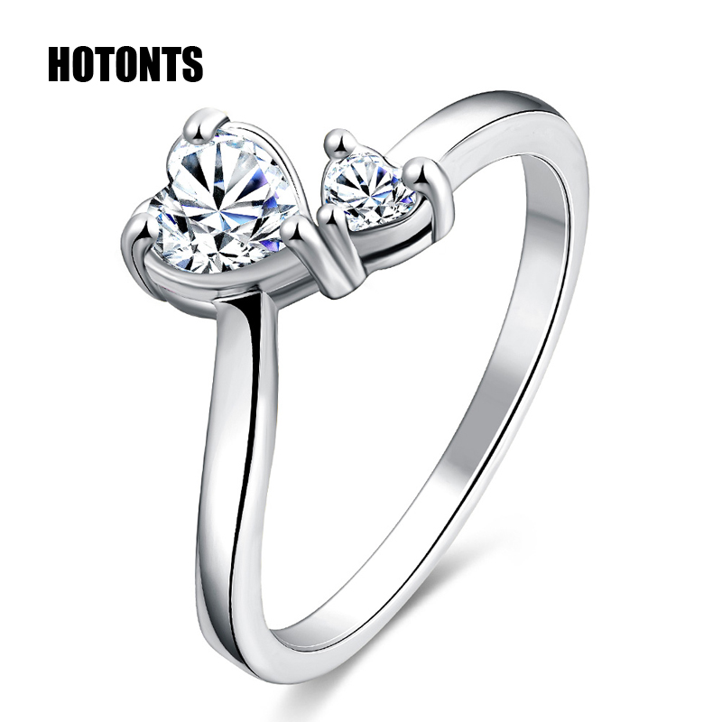 R101012716 Luxury AAA Cubic Zirconia Wedding Rings For Women Exquisite 18K Gold Platinum Plated Double Heart Finger Ring(China (Mainland))