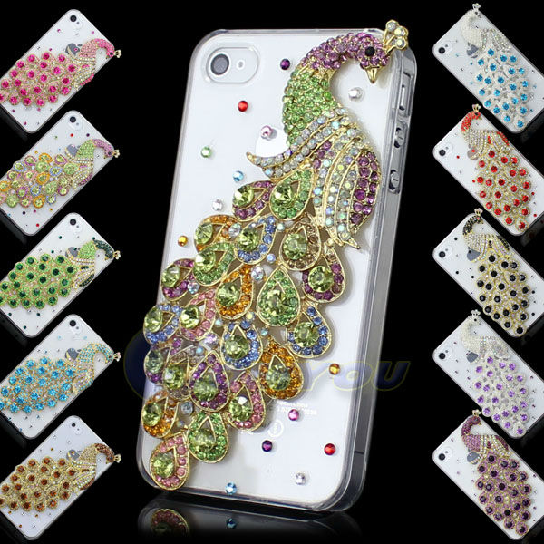 New Fashion Luxury Pretty Peacock Metal Diamond Bling Crystal For iPhone 4G 4S Back Skin Case Cover Free Shipping()