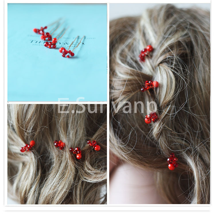 2015 6pc/lot New White & Red Crystal Bridal hair accessories women hairpins Vintage wedding sticks XC16 - Kay's Wedding store
