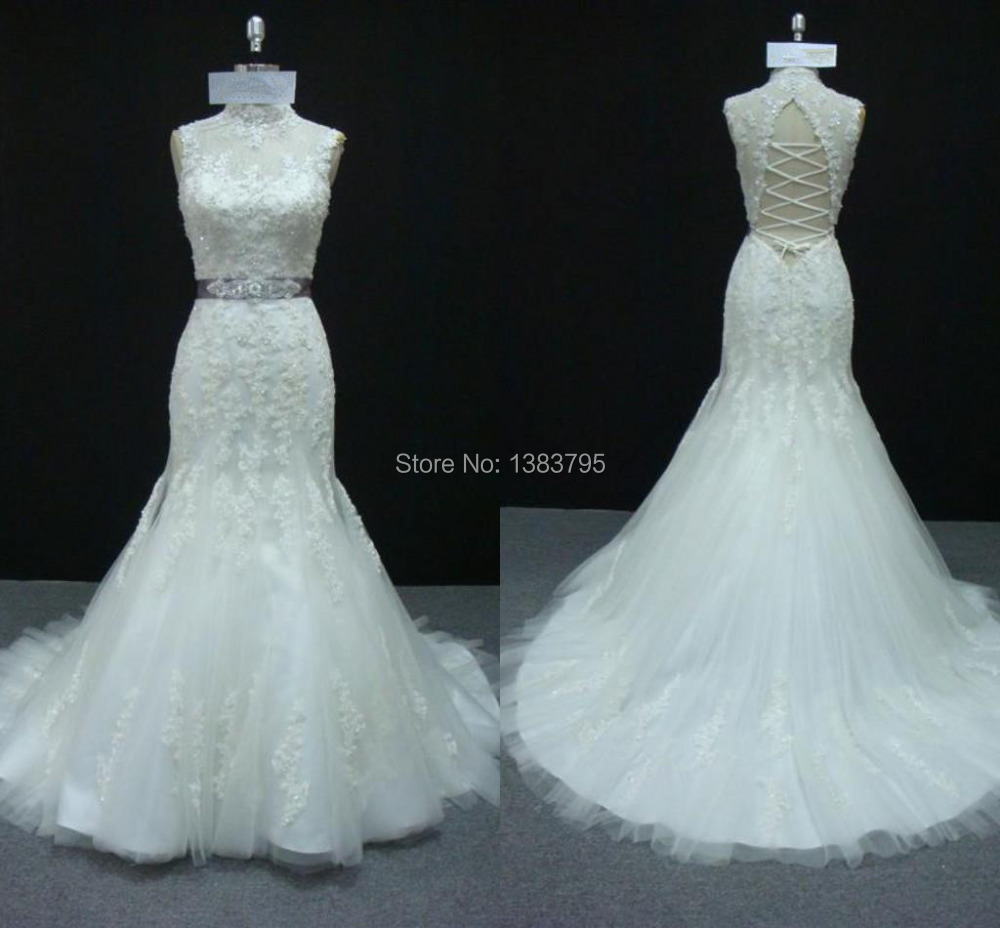 2016 hot style high neck beaded belt lace tulle mermaid for Belt for lace wedding dress