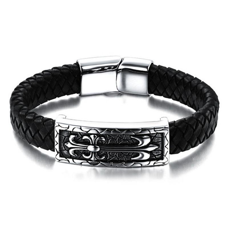 2016 NEW Fashion Punk Rock Unique Star Bracelet Handmade Genuine Leather Stainless Steel Men Bracelets Bangles Jewelry PH896(China (Mainland))