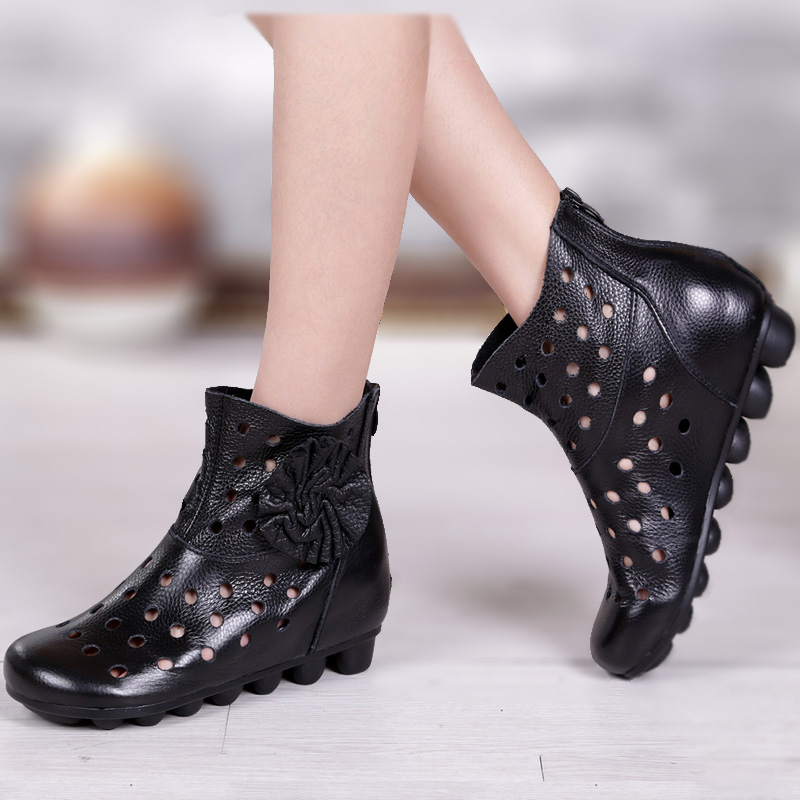 Free Shipping! Promotion! Spring and autumn cutout boots handmade cowhide flower elevator ankle-length casual Cool boots 35-40(China (Mainland))
